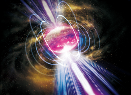 Artist's impression of a magnetar as the aftermath of a binary neutron-star merger